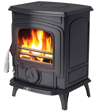 Aga Little Wenlock Stove showing flames and handle