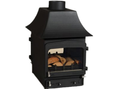 Woodwarm Fireview 6kw double sided stove curved canopy