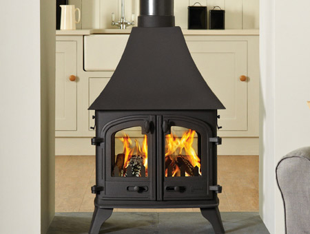 Yeoman Devon double sided multi fuel wood burning stove
